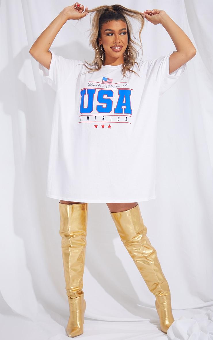 White Printed USA T Shirt Dress 1