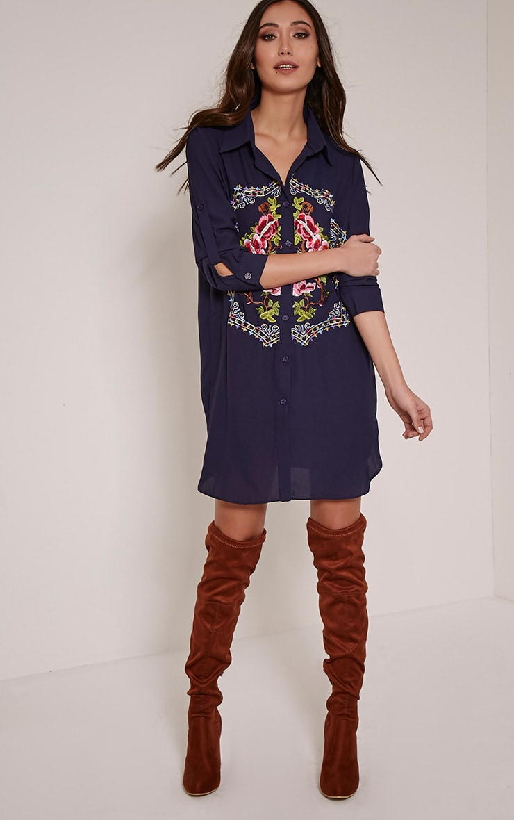 Jenna Navy Embroidered Sheer Shirt Dress 3