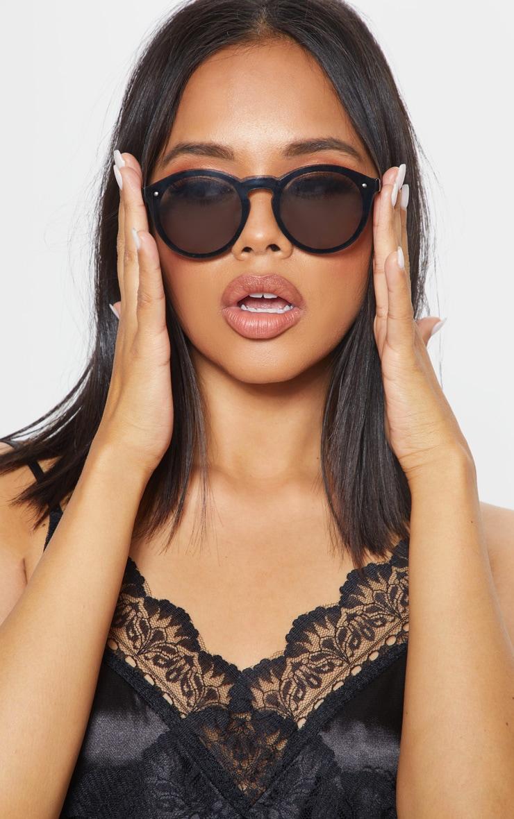 Black Classic Full Lense Round Sunglasses 1