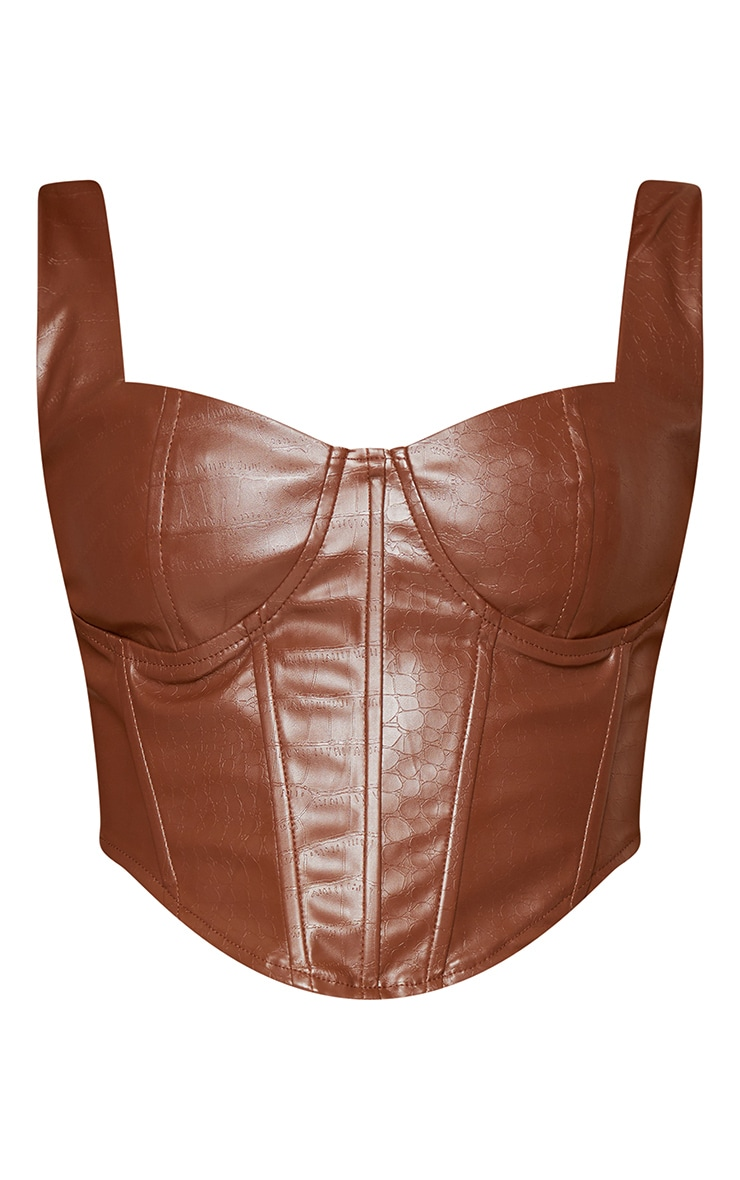 Brown PU Panel Detail Cropped Corset 6