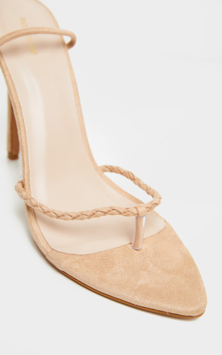 Nude Plaited Rope Faux Suede Stiletto Heel 3