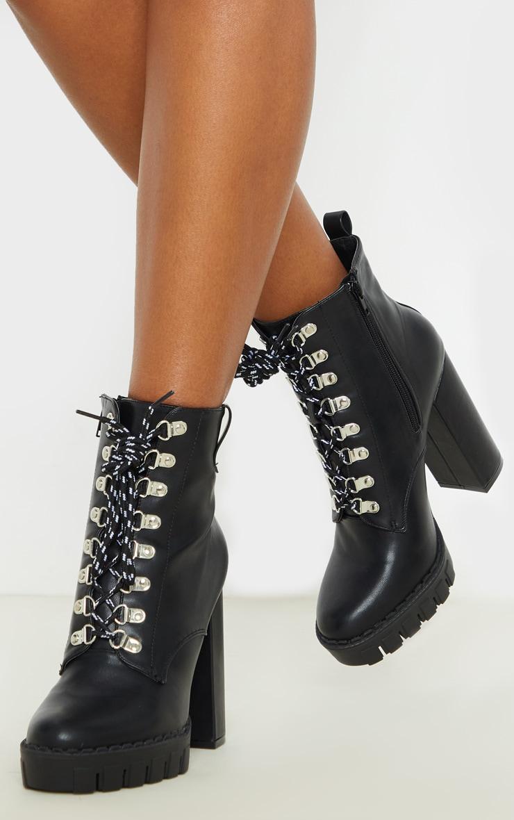 Black Hiker Lace Up High Platform Ankle Boot 2