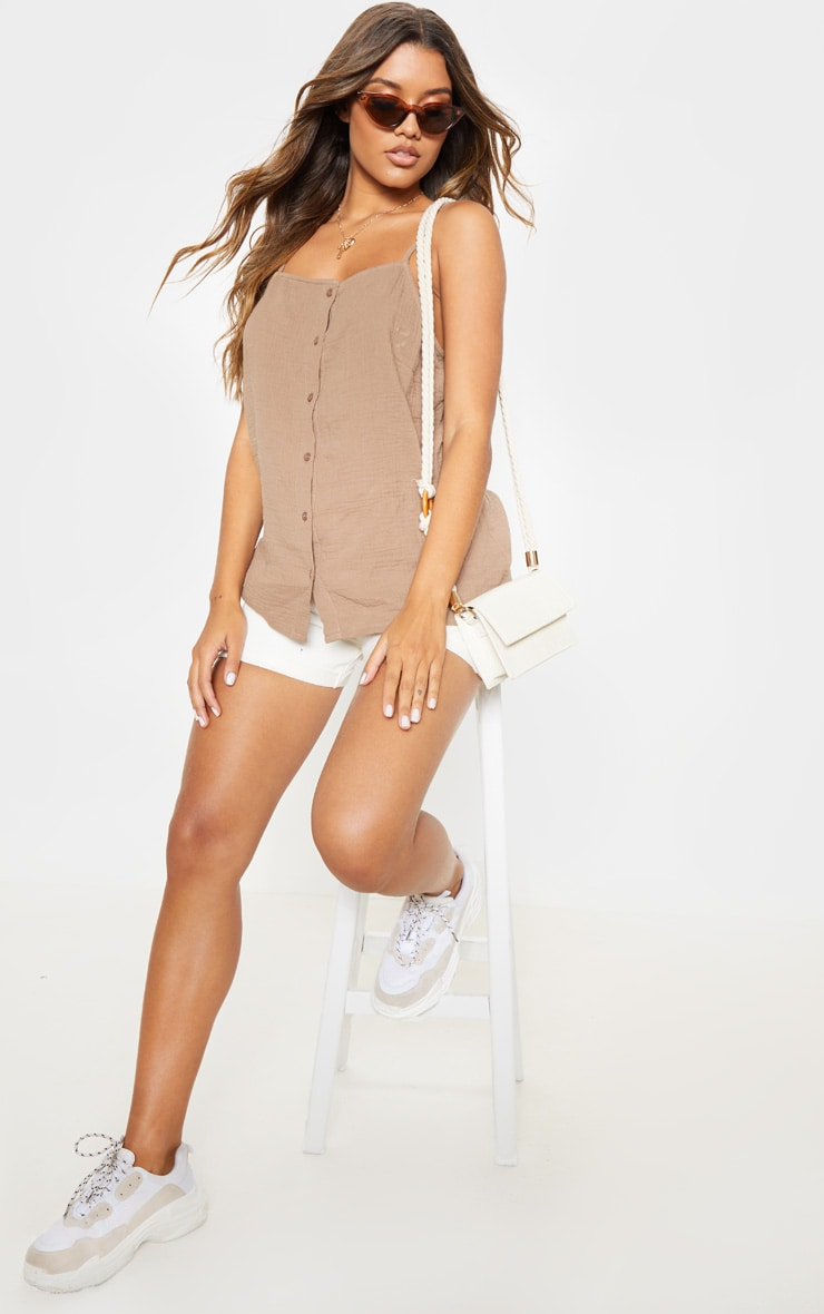 Taupe Linen Mix Button Front Oversized Cami Top 4