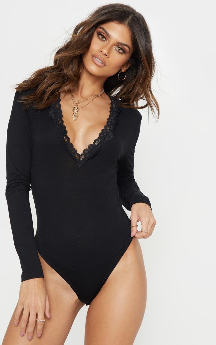 Black Lace Trim Plunge Long Sleeve Bodysuit 2