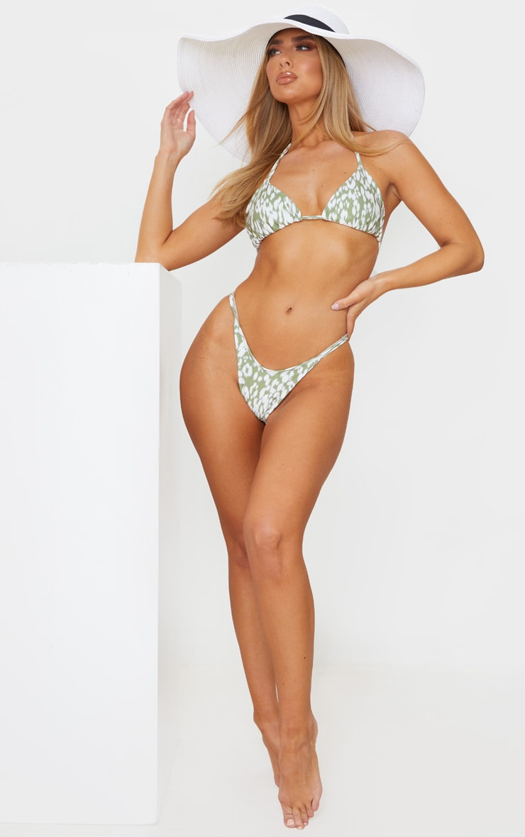 Green Blurred Cheetah Triangle Bikini Top 3