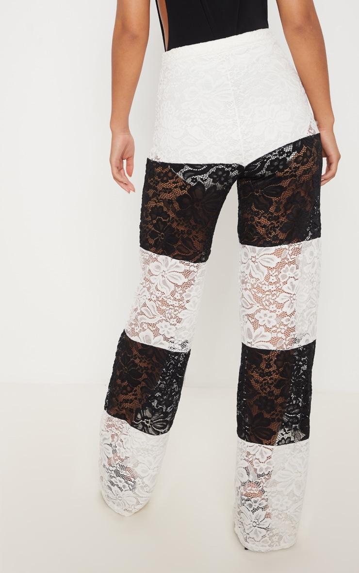 Black Colour Block Stripe Lace Wide Leg Trouser 4