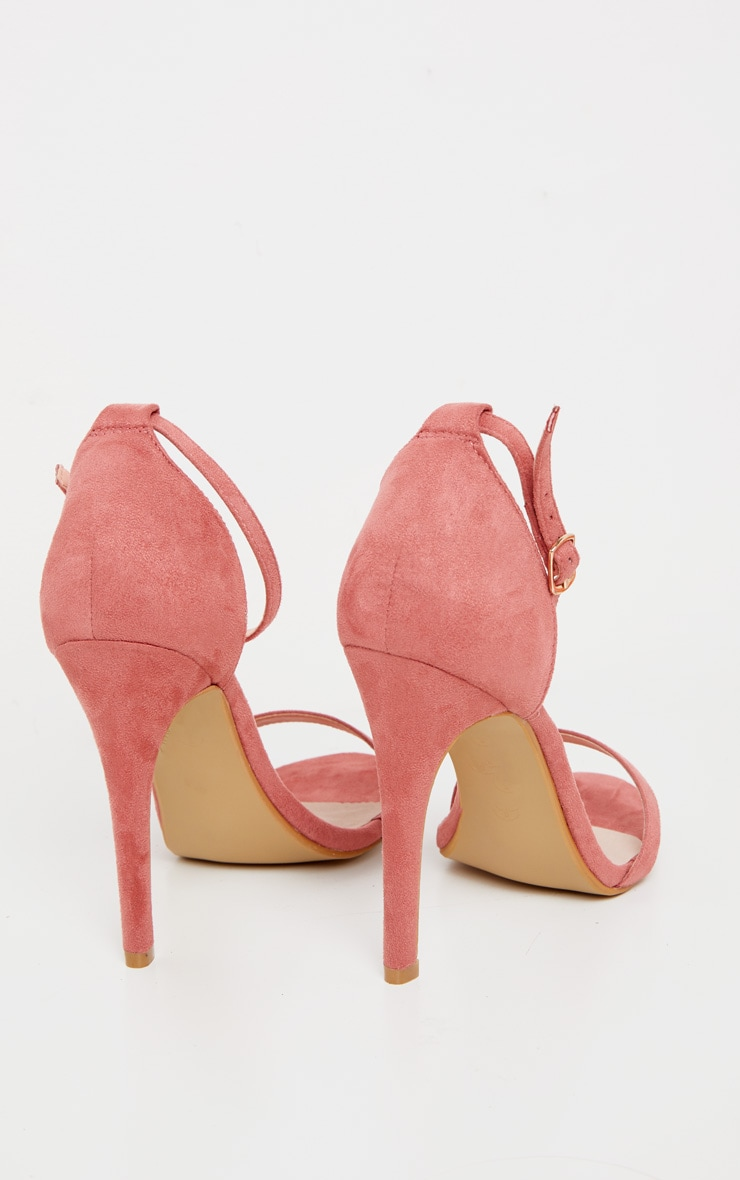 Clover Rose Pink Suede Strap Heeled Sandals 4
