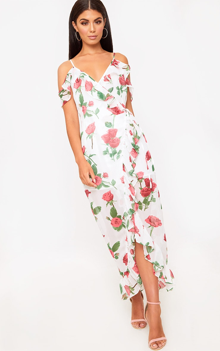 7df3be61a3 White Floral Cold Shoulder Maxi Dress. Dresses | PrettyLittleThing