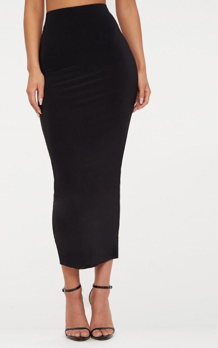 Black Second Skin Slinky Longline Midaxi Skirt  2