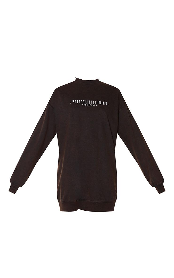 PRETTYLITTLETHING Brown Essentials Acid Wash Oversized Jumper Dress 5