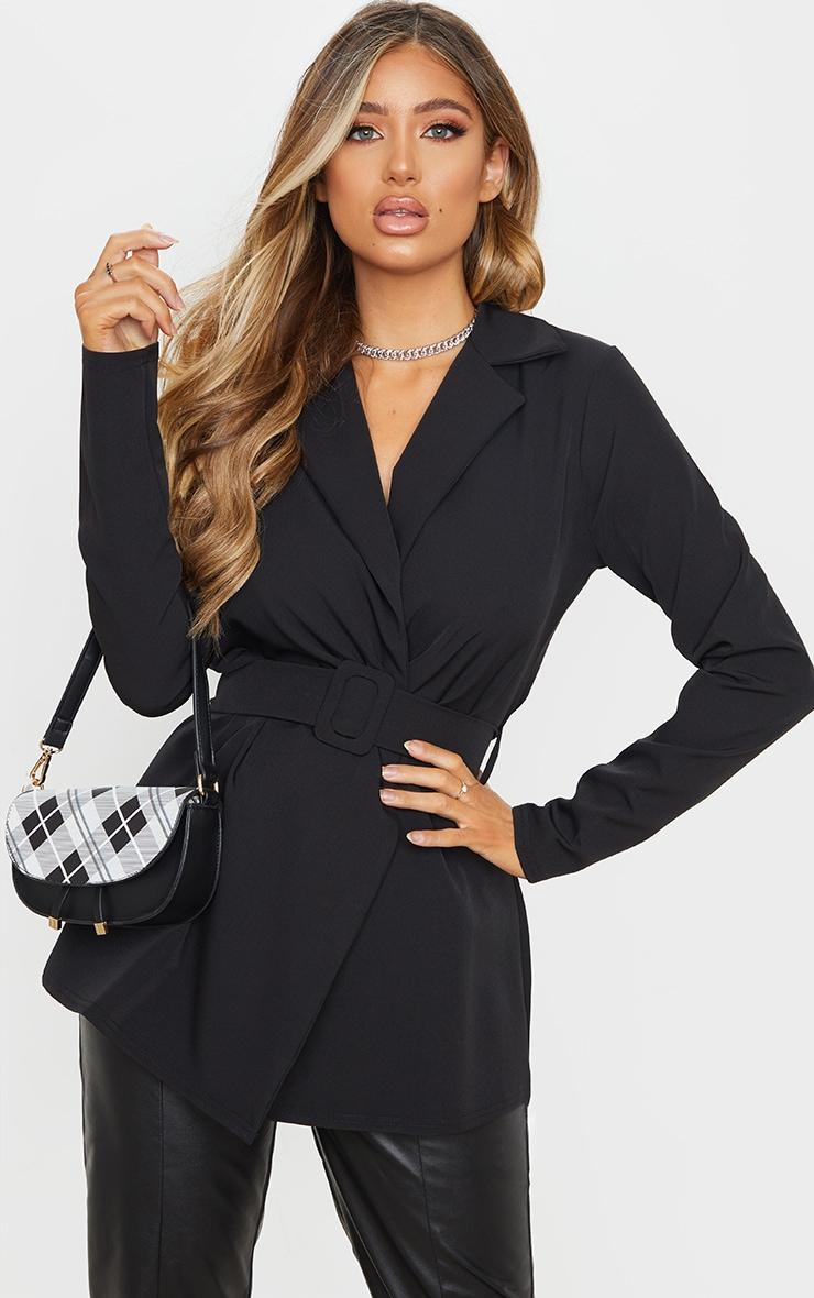 Black Woven Belted Longline Blazer 1