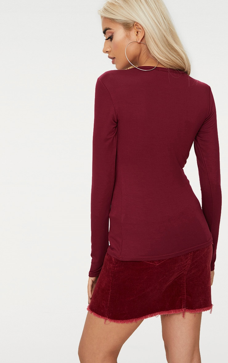 Basic Maroon Longsleeve Fitted T Shirt  2
