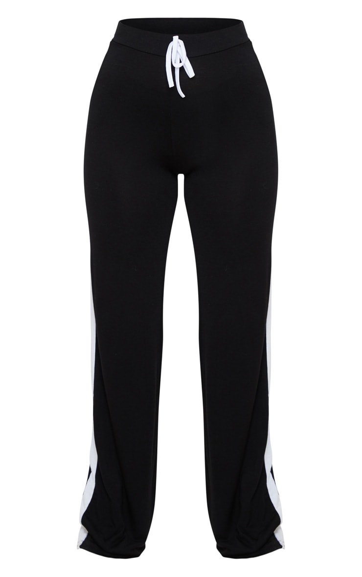 Petite Black Wide Leg Side Stripe Trouser  3