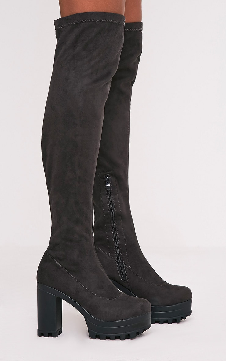 Kymberly Grey Platform Cleated Sole Knee High Boots 3