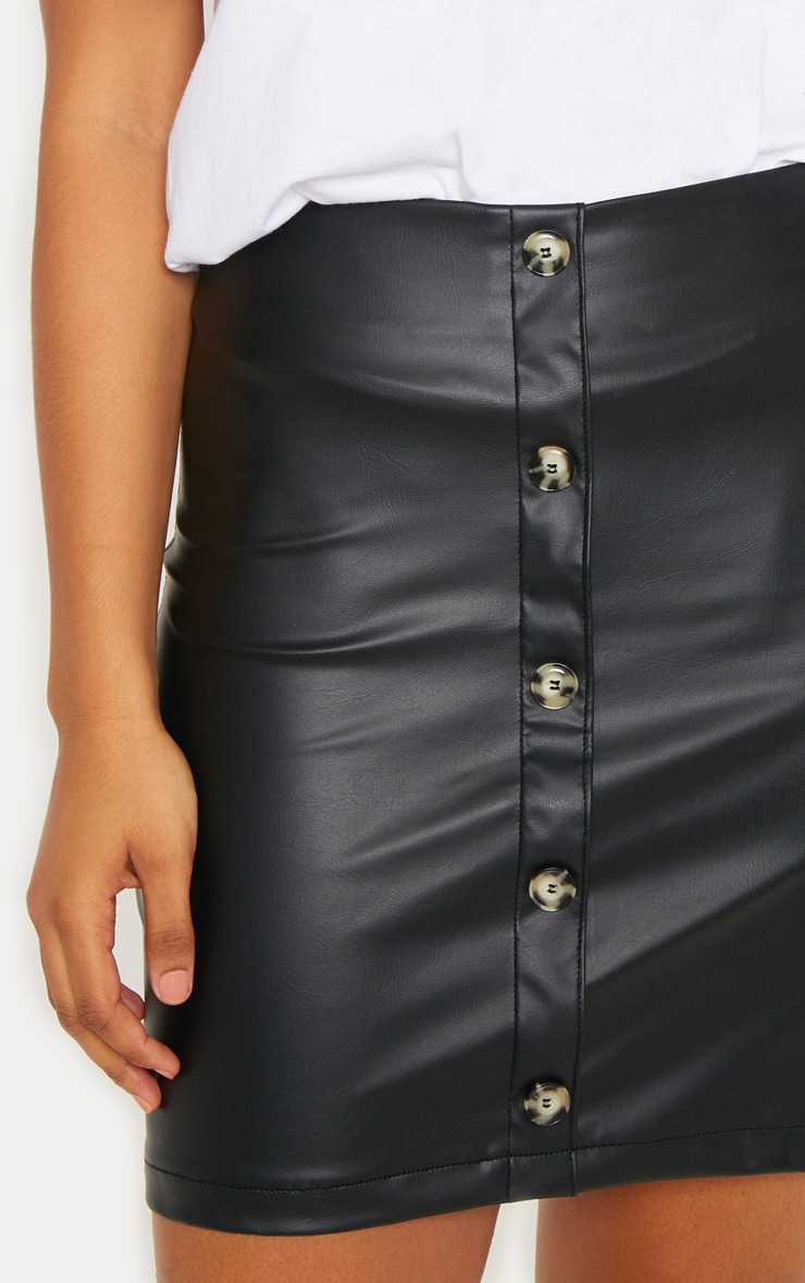 Tall Black Faux Leather Button Detail Bodycon Skirt 6