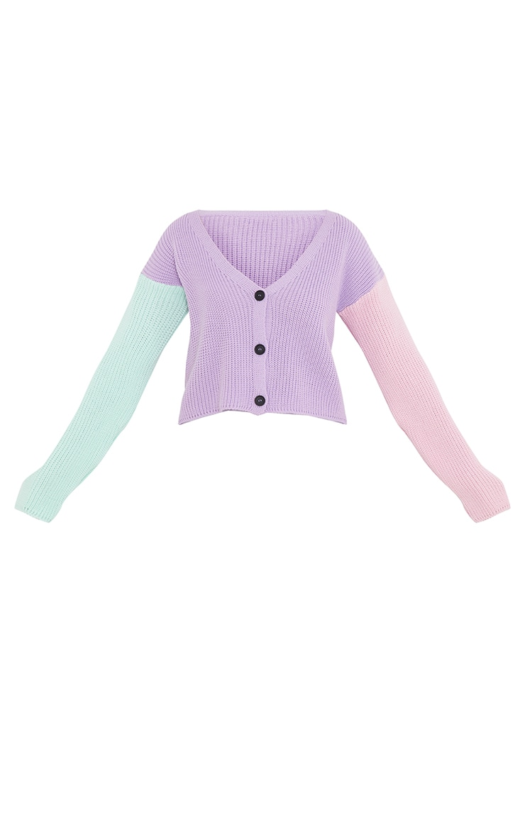 Lilac Colour Block Button Up Cropped Cardigan 5