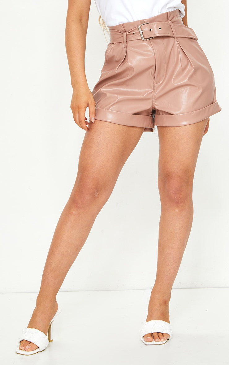 Dusty Pink Belted Faux Leather Turn Up Hem Shorts 2