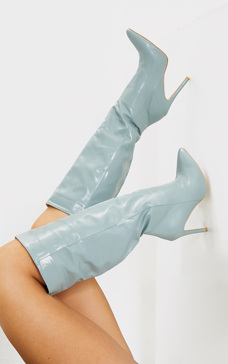 Mint  Knee High Stiletto Boots 2