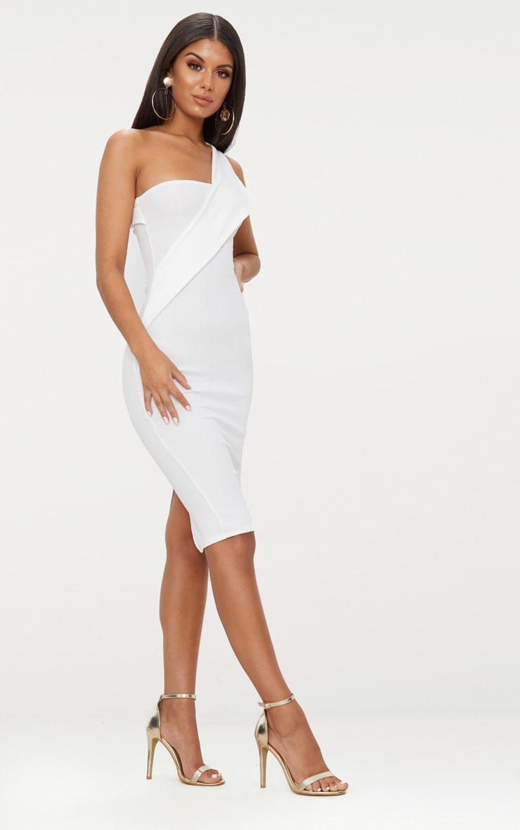 White Asymmetric Strap Midi Dress 3