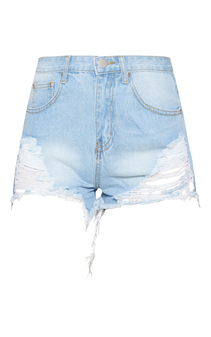 Light Wash Extreme Rip Mom Denim Shorts  3