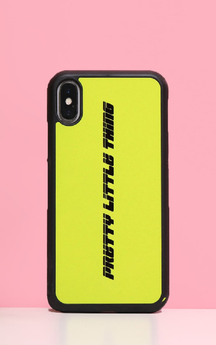 PRETTYLITTLETHING Neon Lime Logo XMAX iPhone Case  1