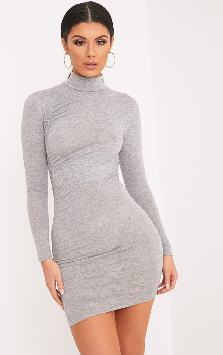 Moana Grey Marl Ruched Detail Bodycon Dress 1