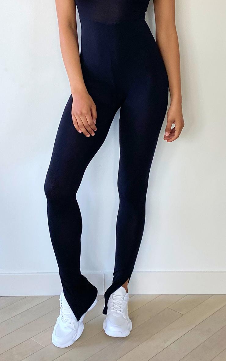Tall Black Sleeveless Jersey Split Hem Jumpsuit 4