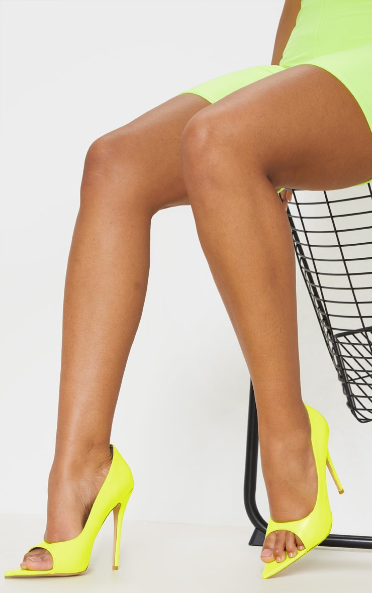 Neon Yellow Open Toe Point Court Shoe 1