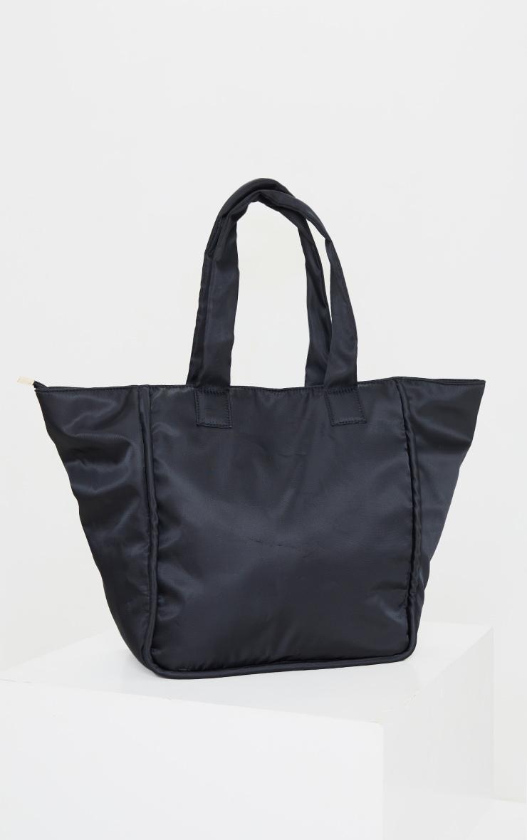 Black Oversized Nylon Tote Bag 2