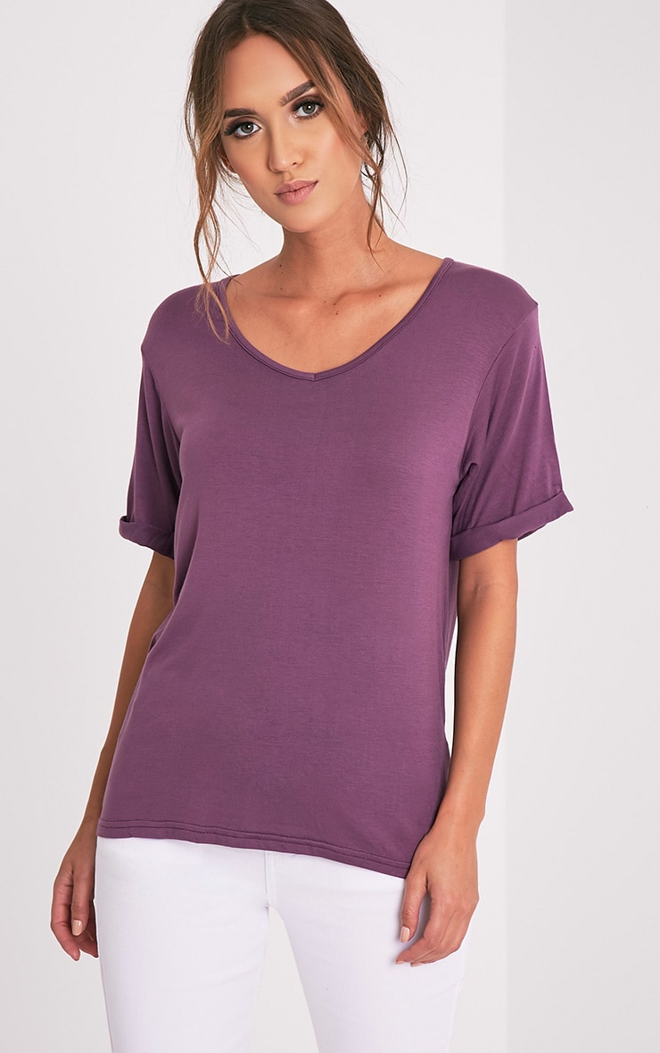 Basic Aubergine V Neck Oversized T-Shirt 1