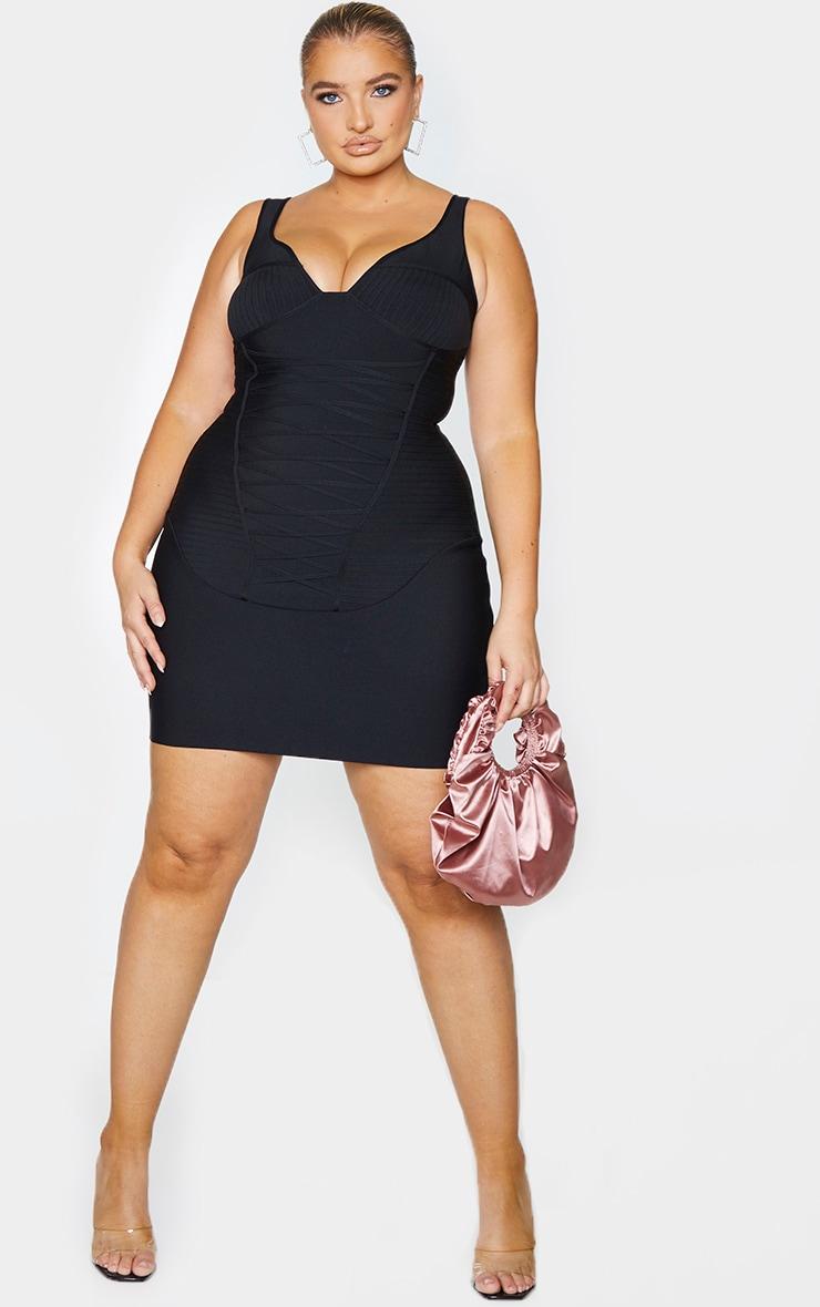Plus Black Bandage Corset Bodycon Dress 1