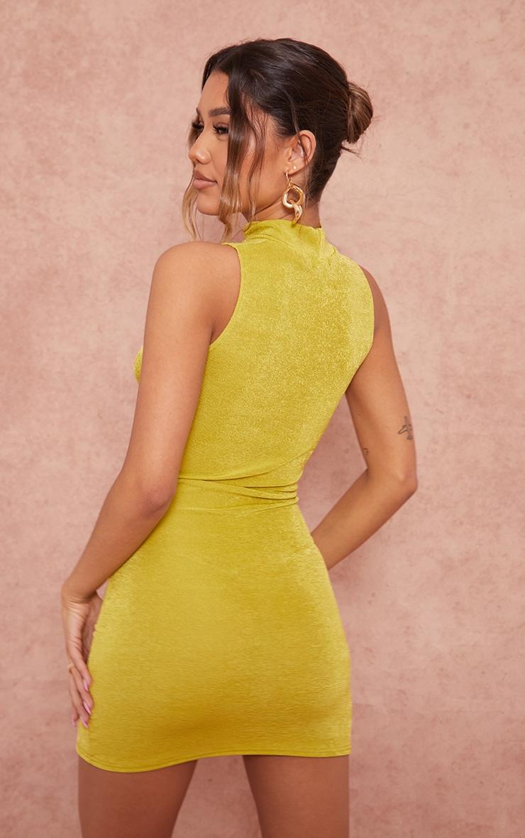 Chartreuse Textured Slinky Keyhole Detail Sleeveless Bodycon Dress 2