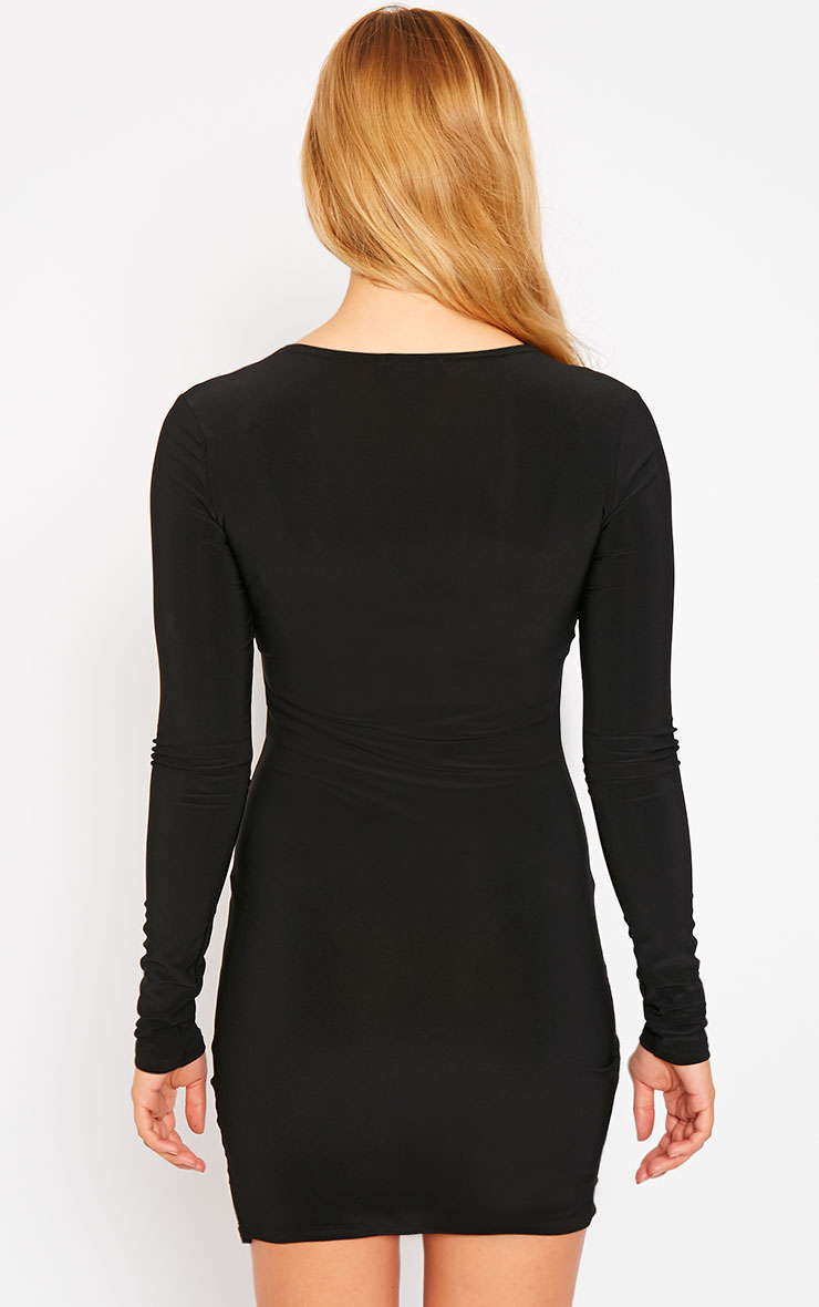 Tamika Black Slinky Plunge Mini Dress 2