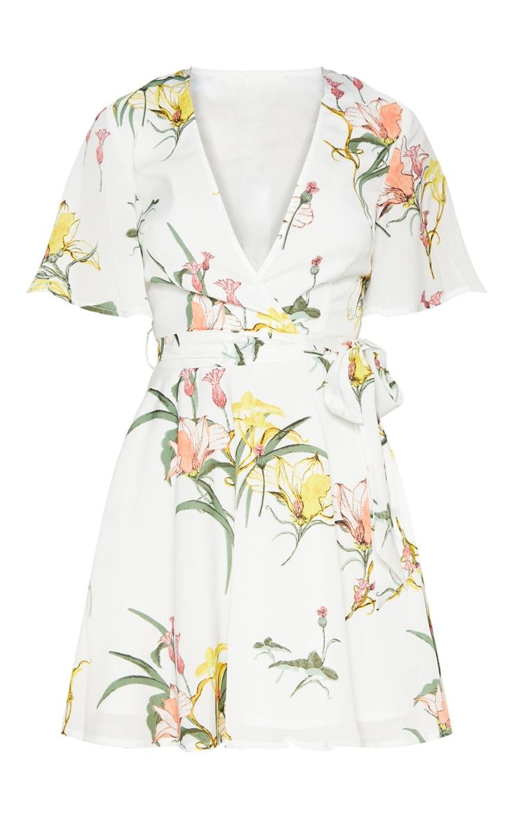 White Floral Print Chiffon Plunge Skater Dress 2