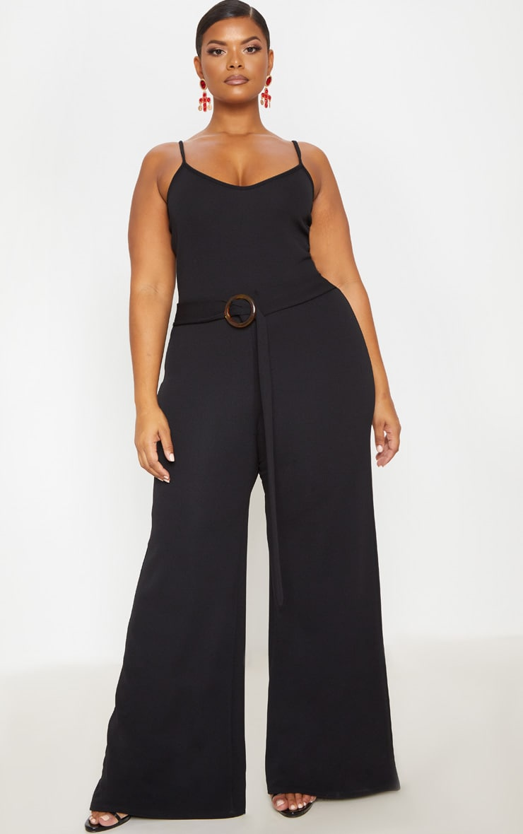 Plus Black Tortoise Shell Trim Detail Jumpsuit 1