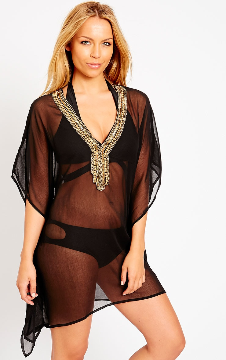 Joyce Black Gold Beaded Kaftan 1