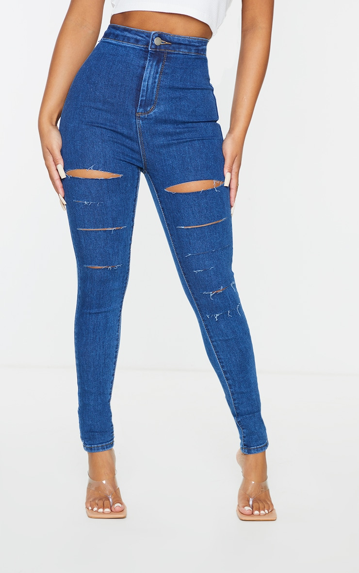 PRETTYLITTLETHING Petite Mid Blue Wash Rip Ripped Disco Skinny Jeans 2