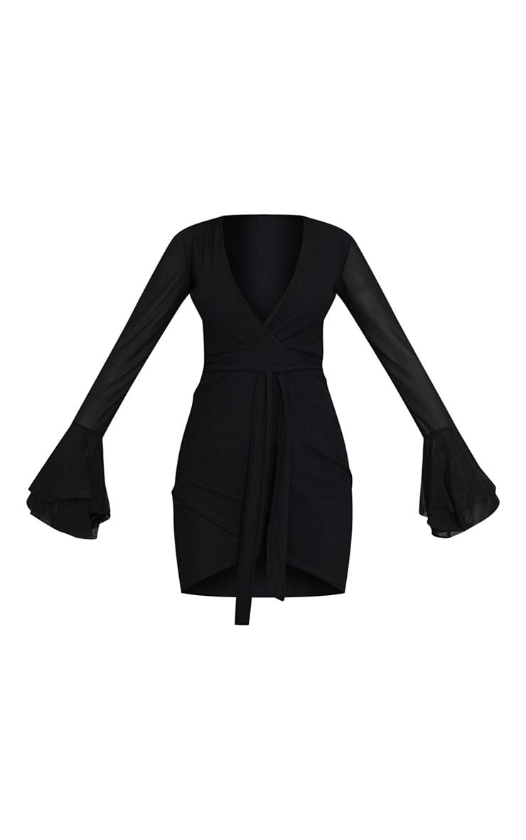 Black Mesh Flared Sleeve Tie Waist Bodycon Dress 5