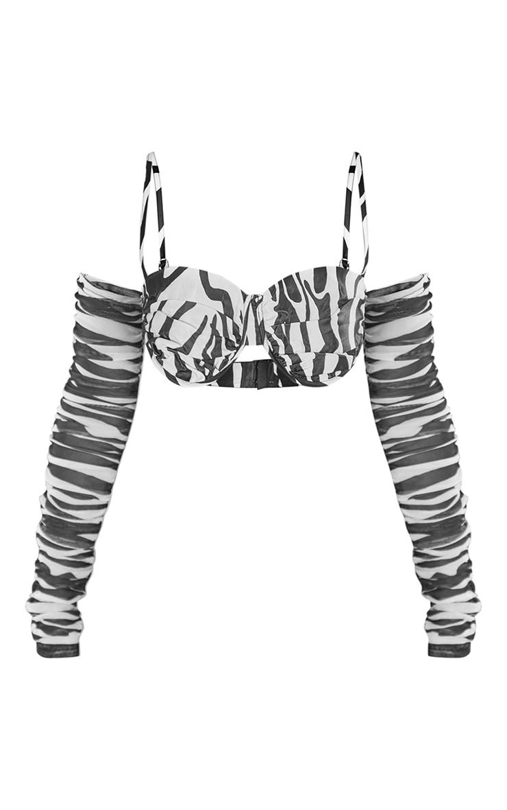 Monochrome  Zebra Print Satin Extreme Ruched Cold Shoulder Cup Detail Crop Top 5