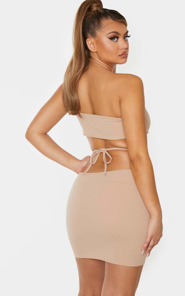 Taupe Strappy Centre Cut Out Detail Bodycon Dress 2