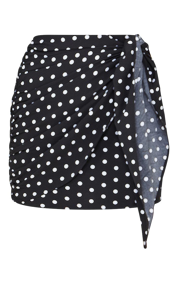 Black Polka Dot Tie Front Mini Skirt 6