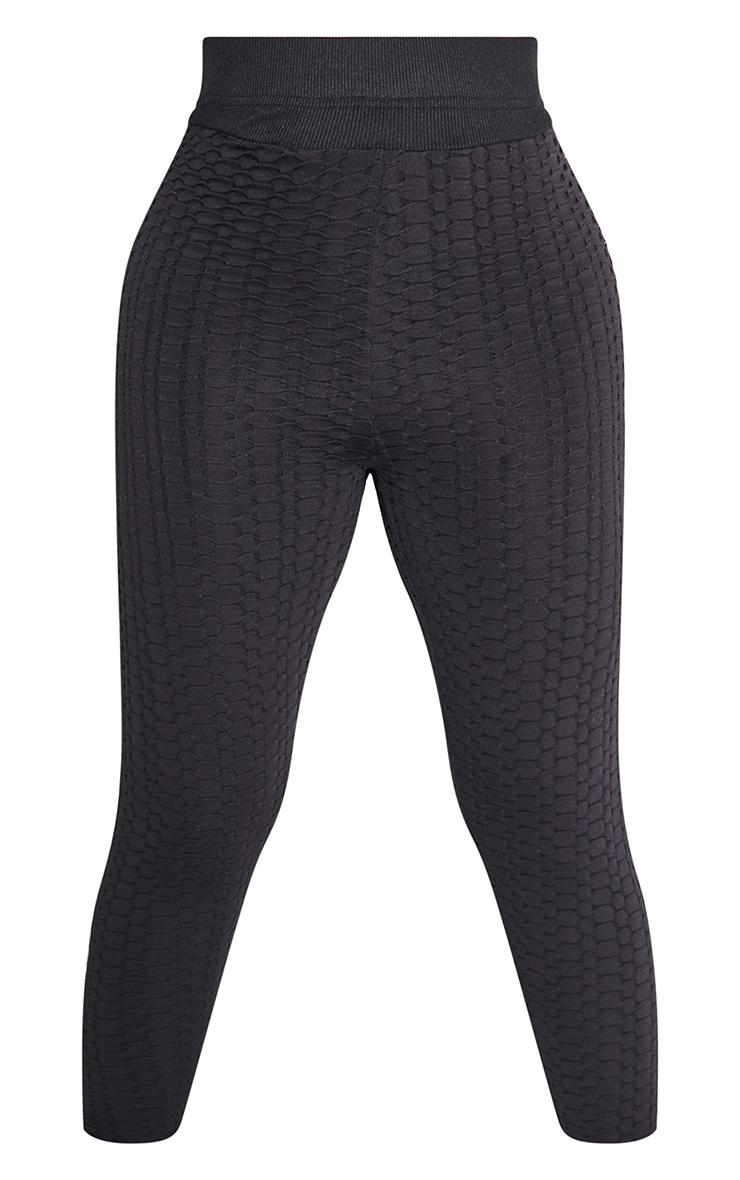 PRETTYLITTLETHING Shape Black Textured Ruched Bum Gym Leggings 5