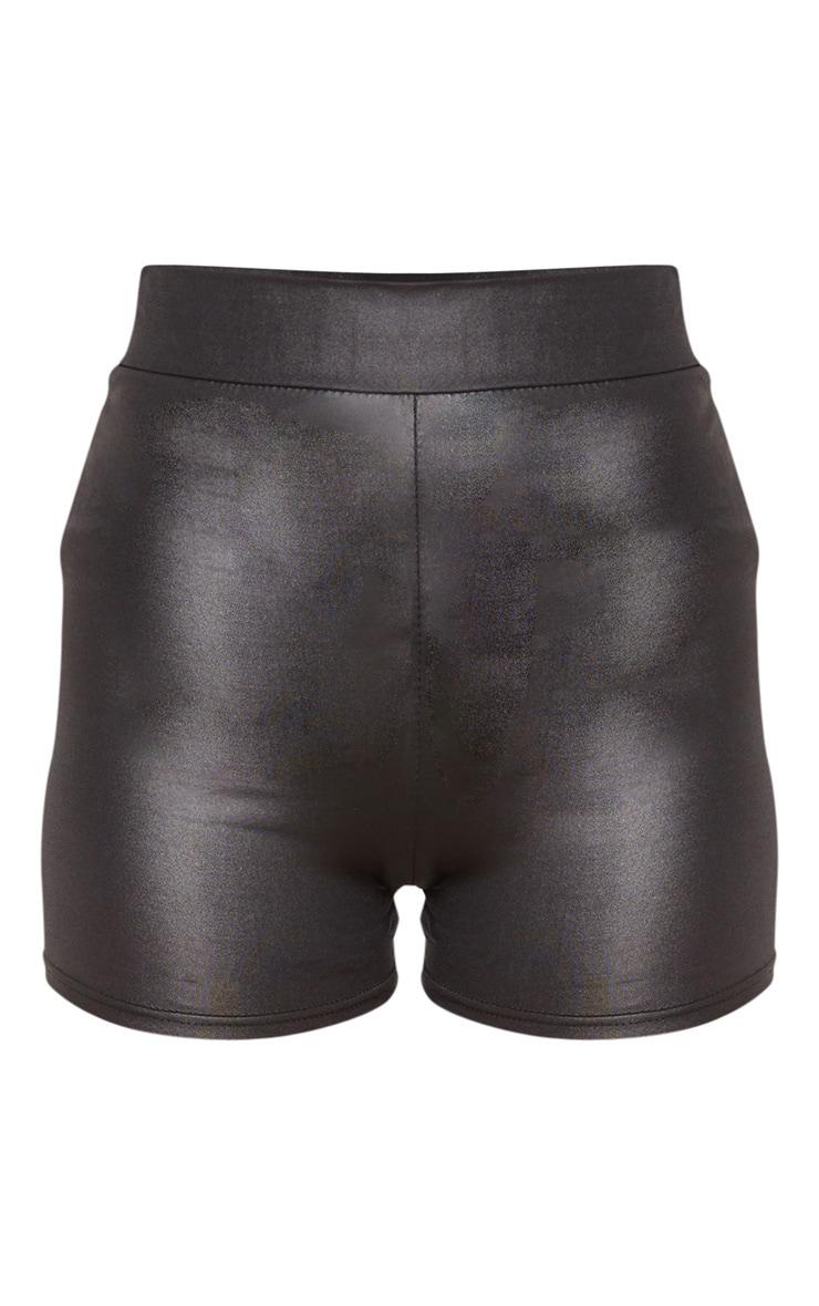 Black Coated High Waisted Short 3