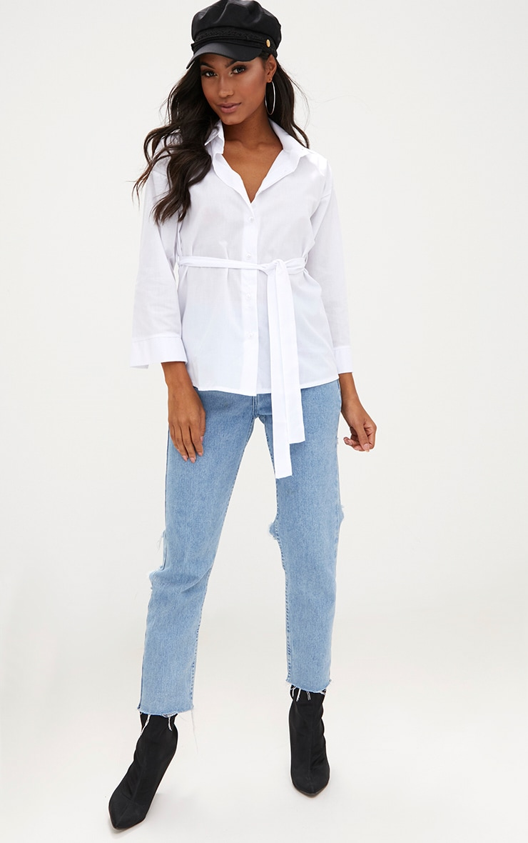 White Oversized Belted Shirt 4