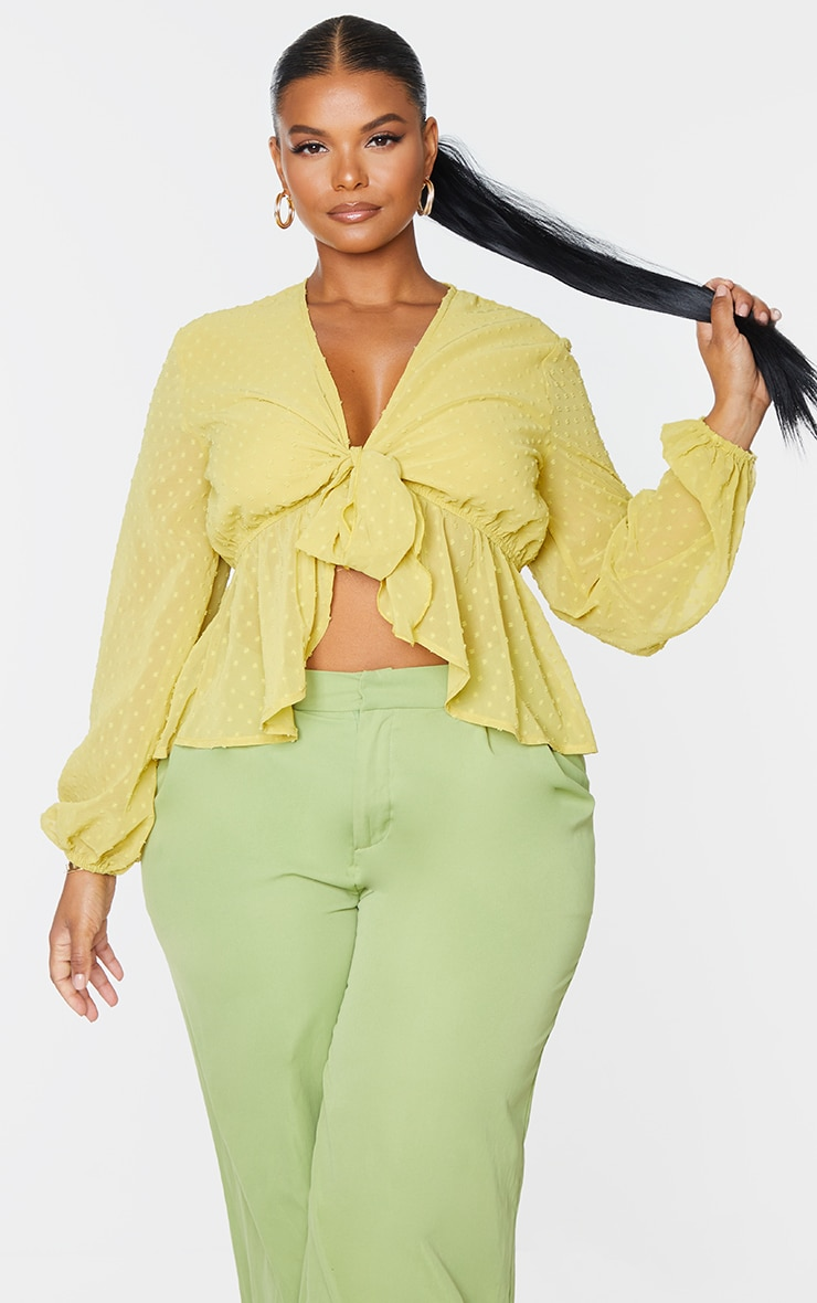Plus Olive Dobby Mesh Tie Front Blouse 3