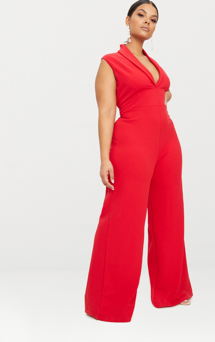 Plus Red Plunge Blazer Style Jumpsuit  4