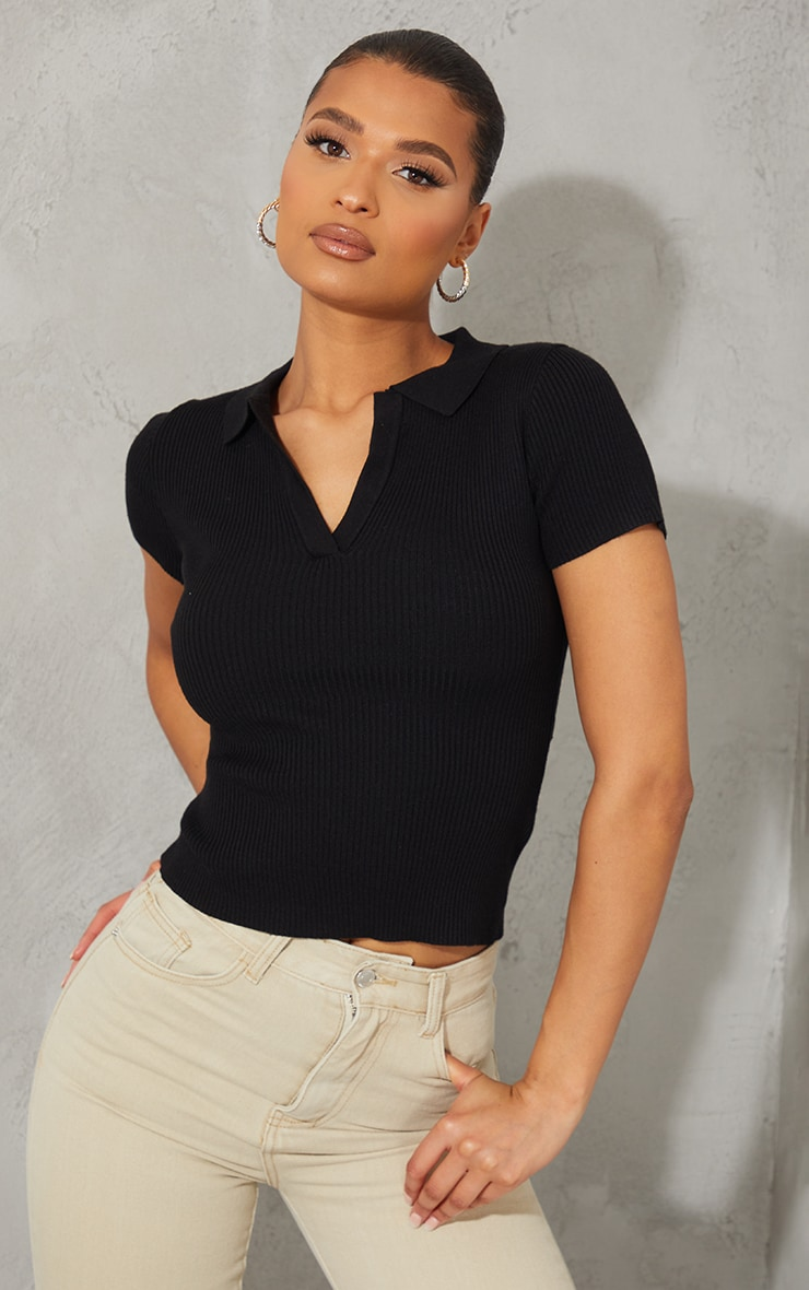 Black Ribbed Knitted Short Sleeve Collar Top 1