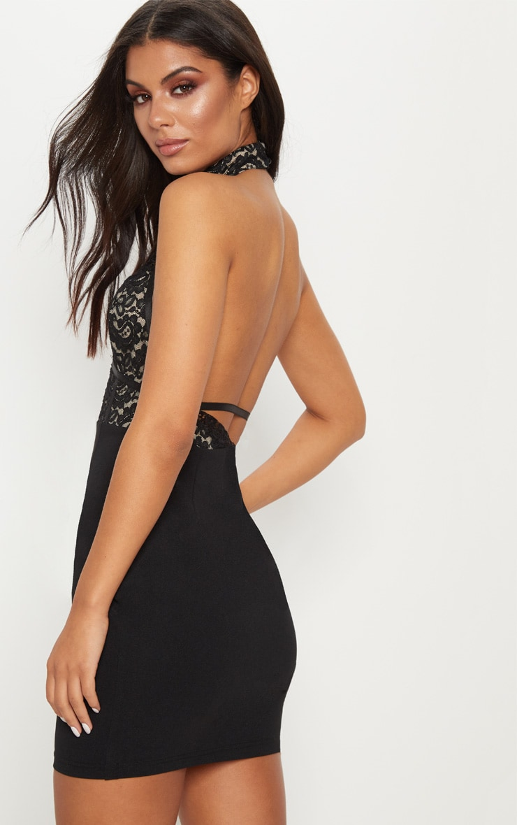 Black Lace Harness Detail Bodycon Dress  2