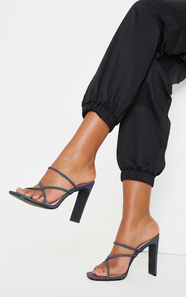 Rainbow Reflective Flat Heel Tube Strappy Mule Sandal 1