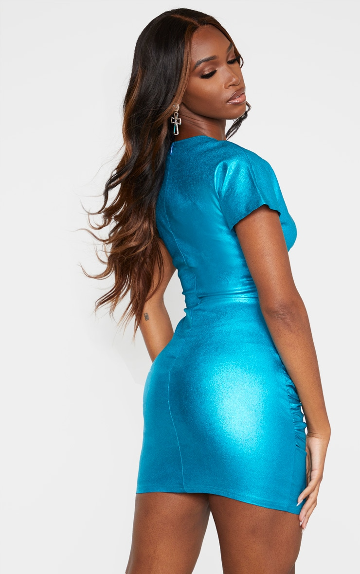 Blue Metallic Cut Out Ruched Bodycon Dress 2